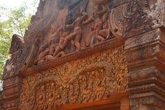 Stone carving on red sandstone doorways Stock Photo