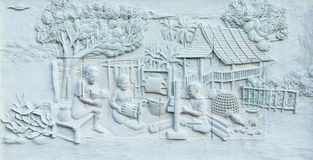 Stone carving of Traditional Thai culture Stock Photos