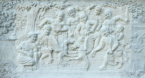 Stone carving of Traditional Thai culture Stock Image
