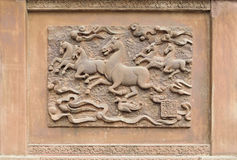 Stone carving of white horse springs Royalty Free Stock Image