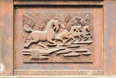 Stone carving of white horse springs Stock Images