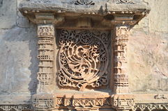 Stone carving on Window design at Adalaj Step Well Stock Photo