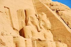 Stone carvings at Abu Simbel. A view of some of the historic Egyptian stone carvings at the massive rock temples of Abu Simbel, built by Ramses II Royalty Free Stock Photos