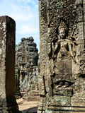 Stone Carvings at Angkor Thom, Cambodia Royalty Free Stock Photos