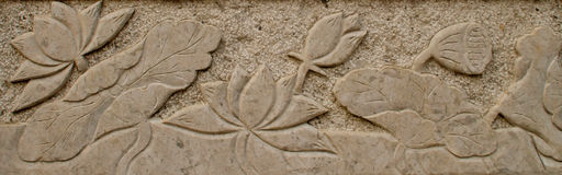 The stone carvings , the beautiful lotus ponds Stock Image