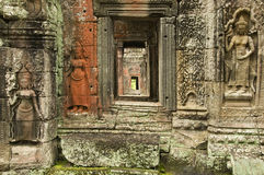 Stone Devata carvings, Preah Kahn Temple, Cambodia Royalty Free Stock Photos