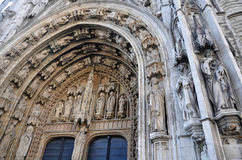 Stone carvings on the entrance of The church of Notre Dame du Sablon, Brussels Stock Photo