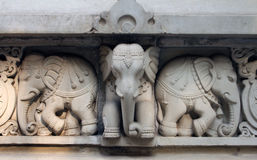 Stone carvings in Hindu temple Birla Mandir in Kolkata Royalty Free Stock Photo