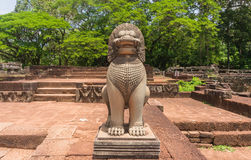 Stone carvings lion  in Ankor Thom Royalty Free Stock Photos