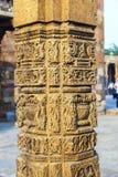 Stone carvings at pillars, Qutb Minar Stock Photo