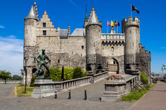 The Stone Castle in Antwerp, Belgium. Medieval castle called The Stone on the banks of the river Schelde in Antwerp, Flanders, Belgium Royalty Free Stock Image