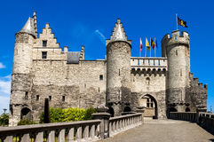 The Stone Castle in Antwerp, Belgium. Medieval castle called The Stone on the banks of the river Schelde in Antwerp, Flanders, Belgium Stock Image