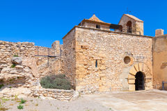 Stone castle facade, main landmark of Calafell Royalty Free Stock Photography