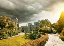 Stone castle. In the garden in autumn stock image