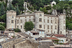 Stone castle and homes in the medieval town Royalty Free Stock Photos