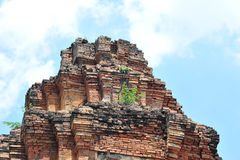 Stone castle in isan of thailand is the architecture culture old Royalty Free Stock Photo