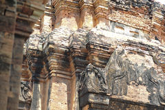 Stone castle in isan of thailand is the architecture culture old Royalty Free Stock Images