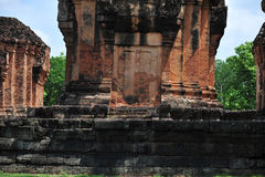 Stone castle in isan of thailand is the architecture culture old Stock Photography