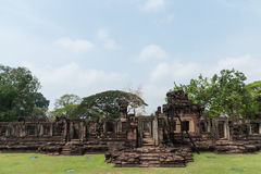 Stone Castle in Phimai Historical Park on blue sky background ,Nakhon Ratchasima, Thailand. Royalty Free Stock Photography