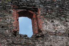 Stone castle ruins window, architectural detail Stock Photos