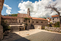 Stone cathedral at ancient citadel in city of Budva, Montenegro Royalty Free Stock Photo