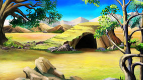 Stone Cave in the African Bush. Day Royalty Free Stock Photography