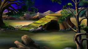 Stone Cave in the African Bush. Night Royalty Free Stock Photo