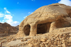 Stone cave home in Bab as-Siq, Petra Royalty Free Stock Image