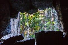Stone cave inside near entrance. Mallorca, Spain. Horizontal Stock Photography