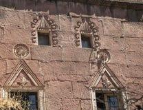 Stone caving designed historical house in Guzelyurt, Aksaray Stock Image