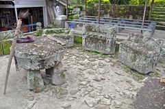 The stone chairs of Ambarita where tribal elders held council. Royalty Free Stock Photography