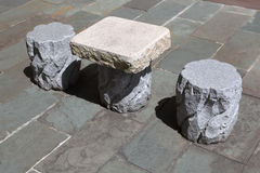 Stone chairs and table Royalty Free Stock Photography