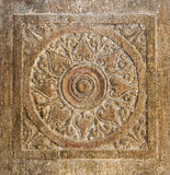 Stone Chakra. A chakra carved into a ancient temple wall royalty free stock images