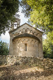 Stone chapel at San Quilico in central Corsica Royalty Free Stock Images