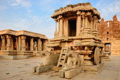 Stone chariot in Hampi Vittala Temple at sunset Stock Photography