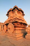 The stone chariot at the Vittala temple, Hampi. Sunrise shot of the famouse stone chariot using a wide angle lens Stock Photo
