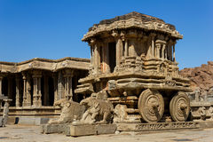 Stone Chariot in the Vittalla temple in Hampi Stock Images