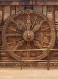 The Konark stone chariot wheel. Royalty Free Stock Image