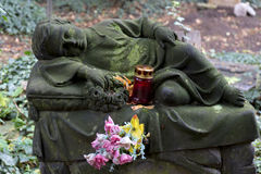The stone Child on Tomb from the old Prague Cemetery, Czech Republic Stock Image