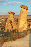 Stone chimneys Cappadocia. Stone chimneys near Goreme in Cappadocia, Turkey Royalty Free Stock Images