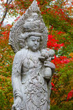 Stone Chinese Godess statue Quanyim at Eikando Zenrinji Temple in Kyoto Royalty Free Stock Photography