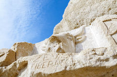 From stone chiseled Bull at the Red Beach near Matala Royalty Free Stock Photography
