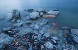 Stone @ Chonburi/ Thailand. Sea view with long shutter Royalty Free Stock Photo