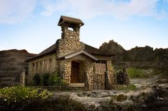 Stone church. Composition of an old church against volcanic rock background Royalty Free Stock Photography