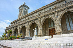 Stone church, ancient cathedral, nha trang, vietnam stock photography
