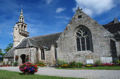 Stone church in Brittany. Old stone church in village Ploulec´h ,Brittany, France Royalty Free Stock Photo