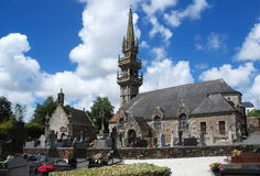 Stone church in Brittany. Old stone church and cemetery in village Saint Servais,Brittany, France Royalty Free Stock Images