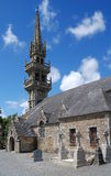 Stone church in Brittany. Old stone church and cemetery in village Saint Servais,Brittany, France Royalty Free Stock Photos