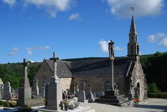 Stone church and cemetery in Brittany, France Royalty Free Stock Photography