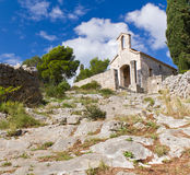 Stone Church by Fortress in Hvar, Croatia Royalty Free Stock Photography